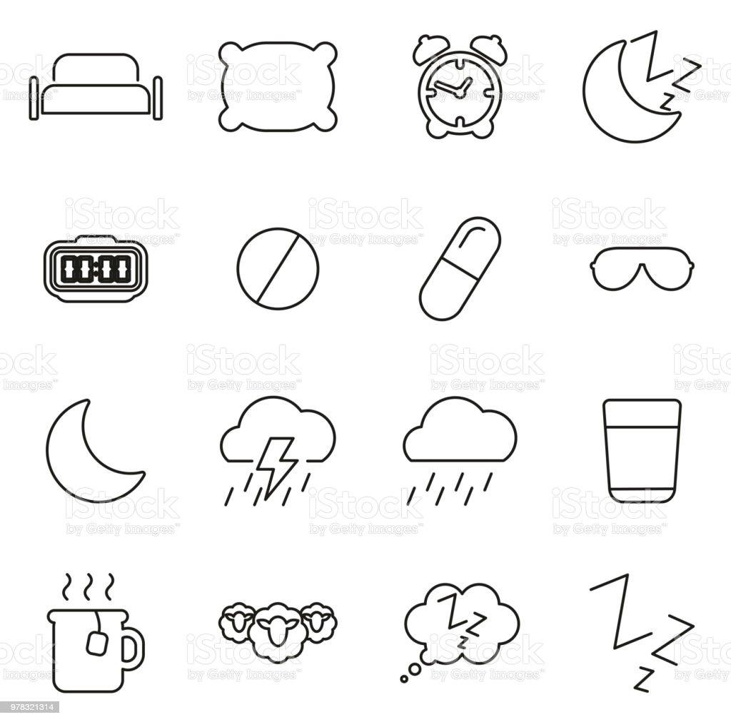 Sleep Or Sleeping Icons Thin Line Vector Illustration Set vector art illustration