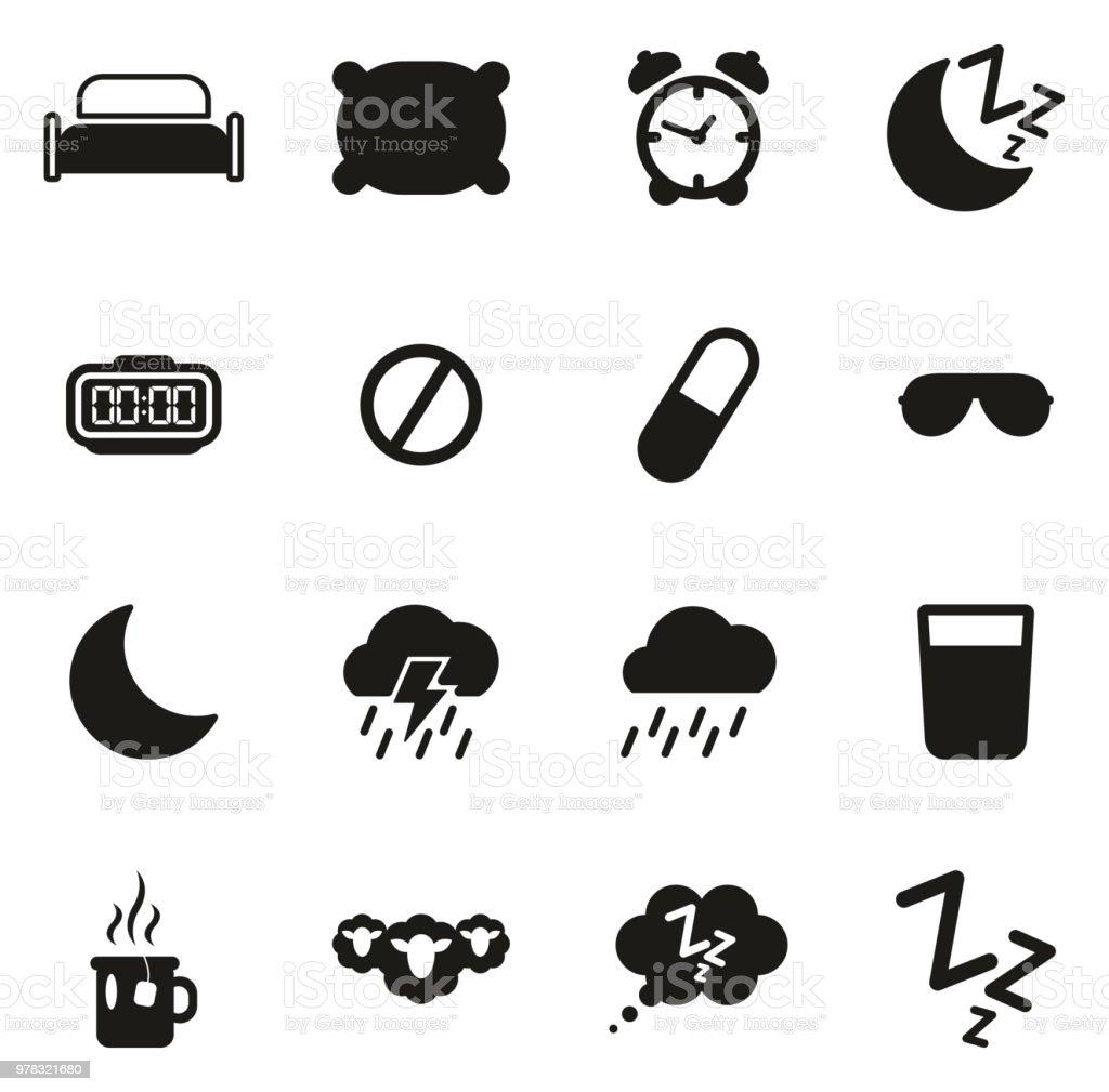 Sleep Or Sleeping Icons vector art illustration