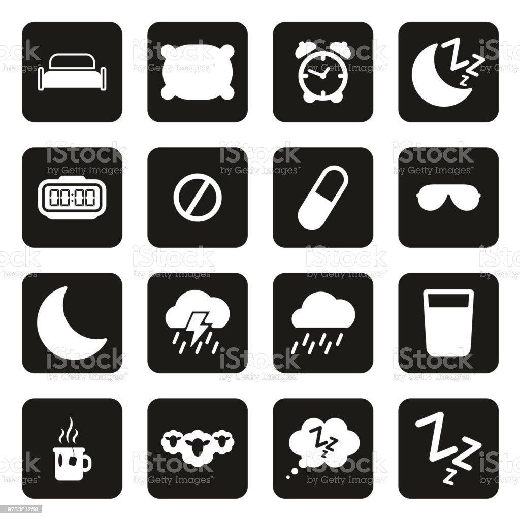 Sleep Or Sleeping Icons White On Black vector art illustration