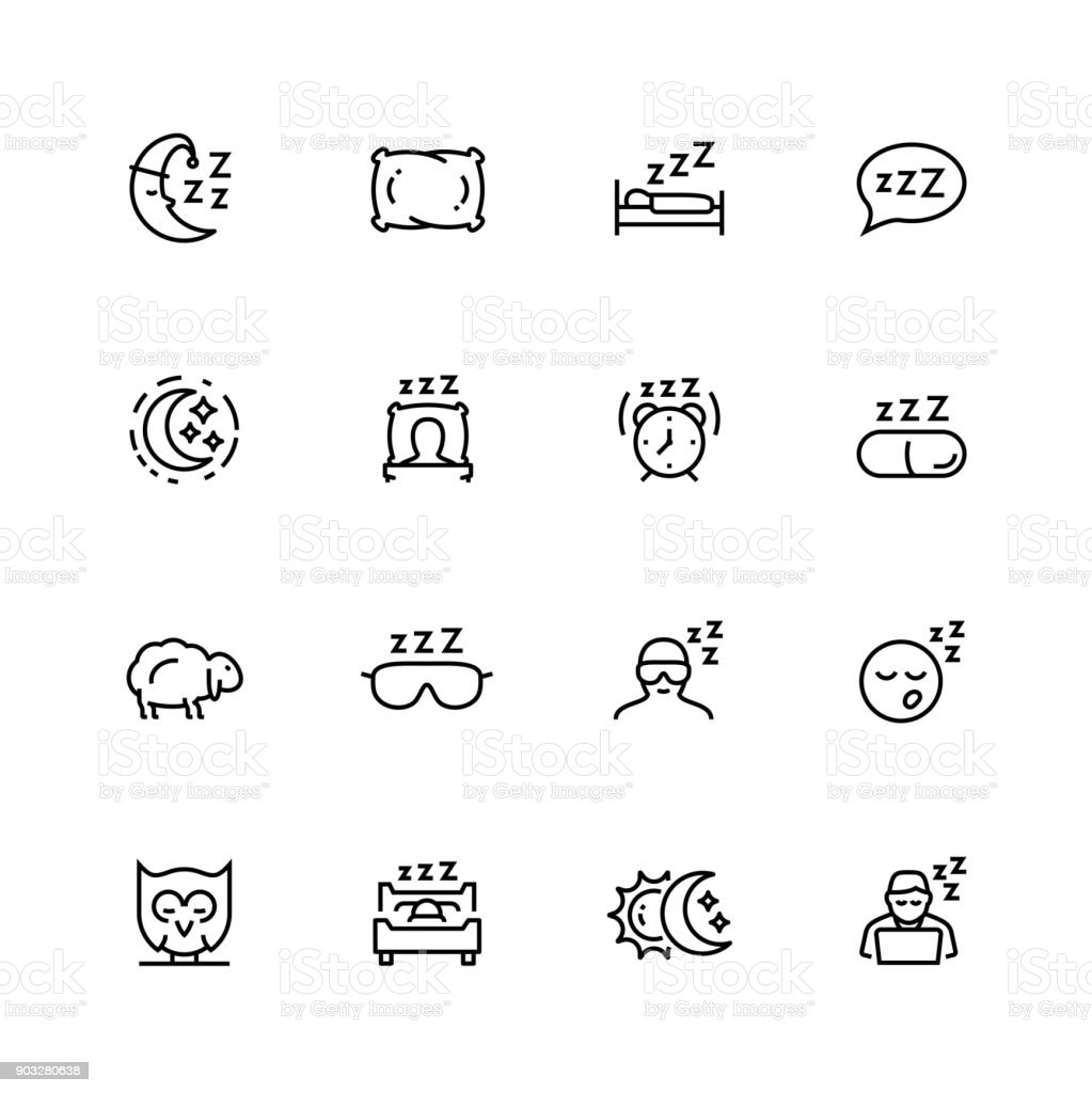 Sleep related vector icon set in thin line style with editable stroke vector art illustration