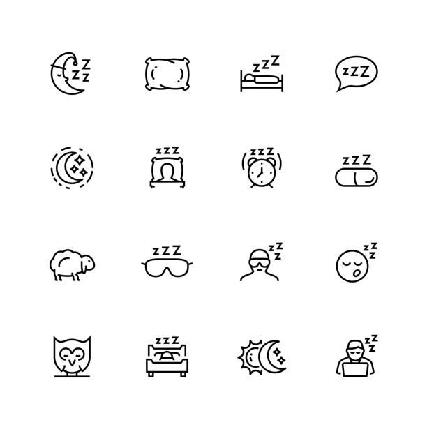sleep related vector icon set in thin line style with editable stroke - bed stock illustrations