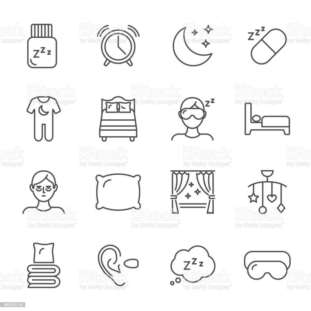 Sleep set of vector icons line style vector art illustration