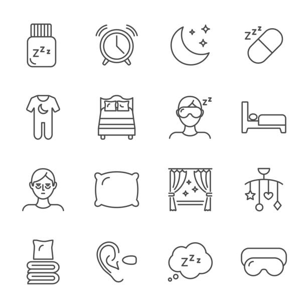 sleep set of vector icons line style - bed stock illustrations