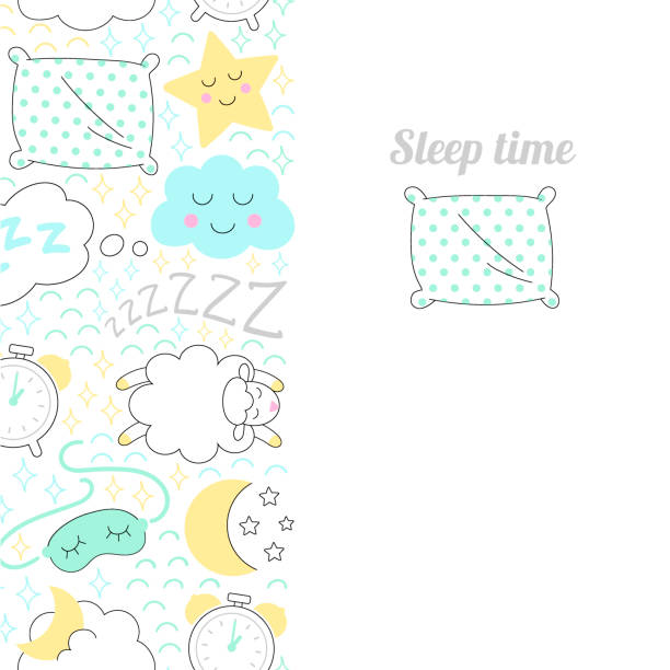 Dormir el vector vertical de tiempo dibujo bandera. - ilustración de arte vectorial