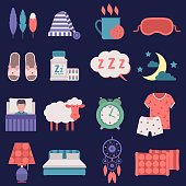 Sleep vector nignt time related vector icons set button human clock sleep icons hostel bedding relaxation. Bedroom art lifestyle healthy nap sleep icons nightlife dreamcatcher collection.