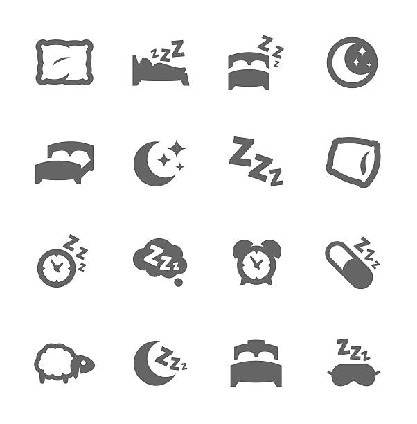 sleep well icons - bed stock illustrations