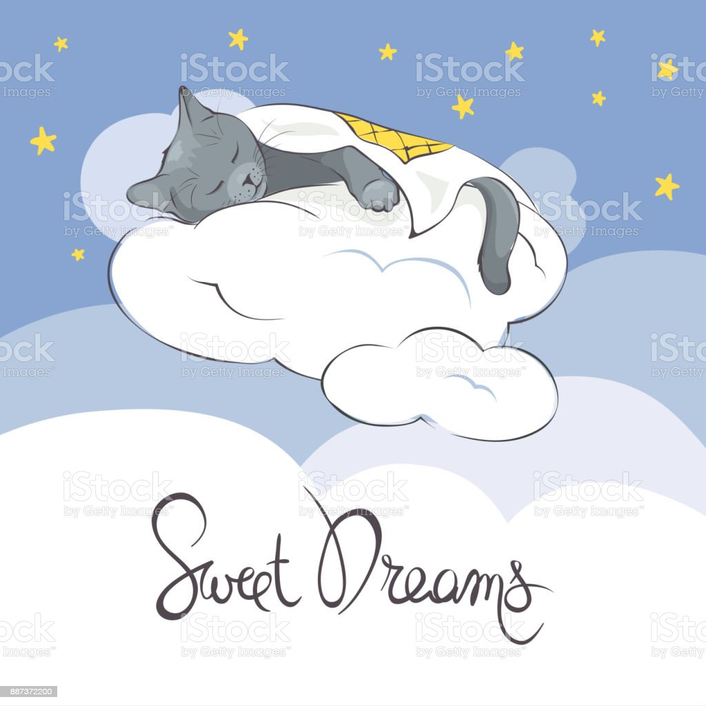 Sleeper Kitty on the clouds under a blanket vector art illustration