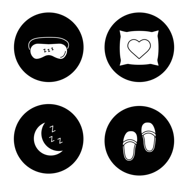Iconos de accesorios para dormir - ilustración de arte vectorial