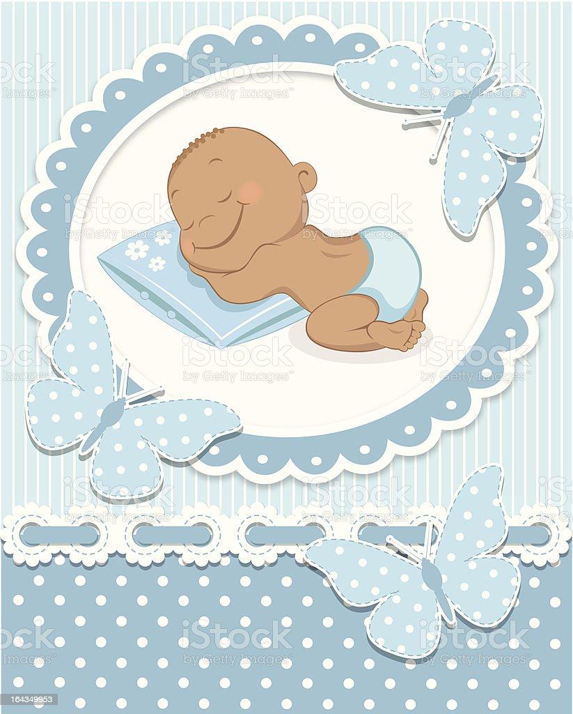 Sleeping African baby boy royalty-free stock vector art