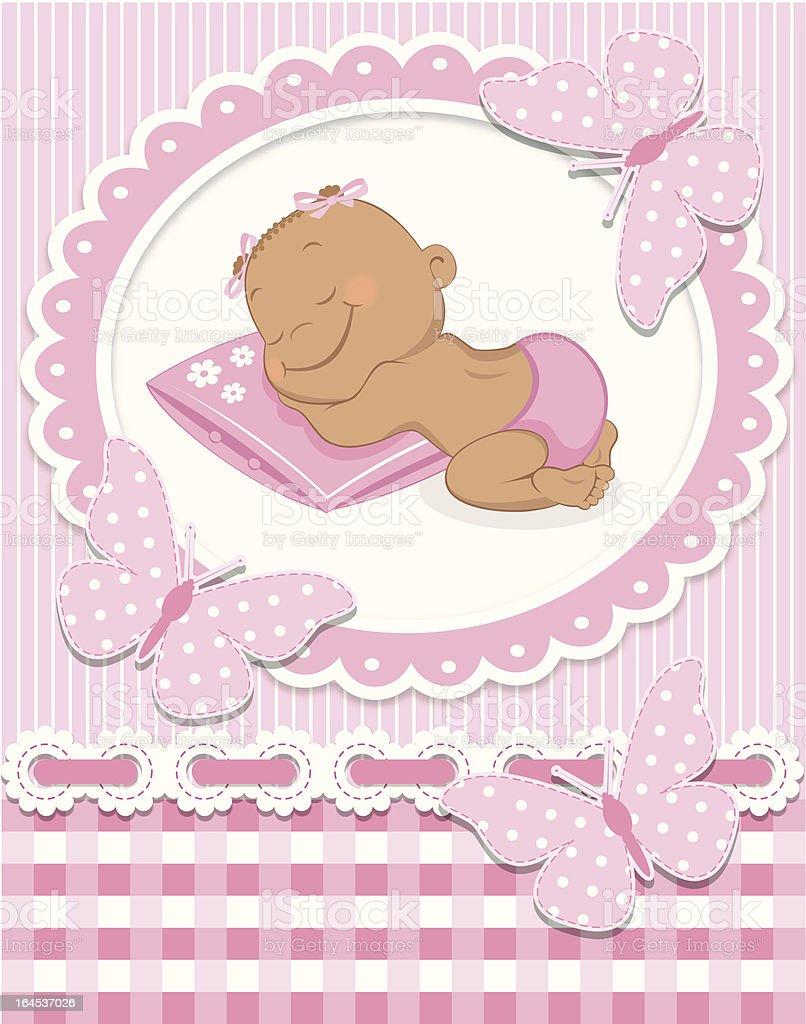 Sleeping African baby girl royalty-free stock vector art