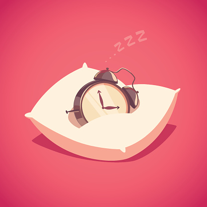 Sleeping Alarm Clock Stock Illustration - Download Image Now