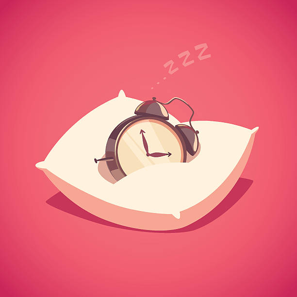 Sleeping alarm clock. vector art illustration