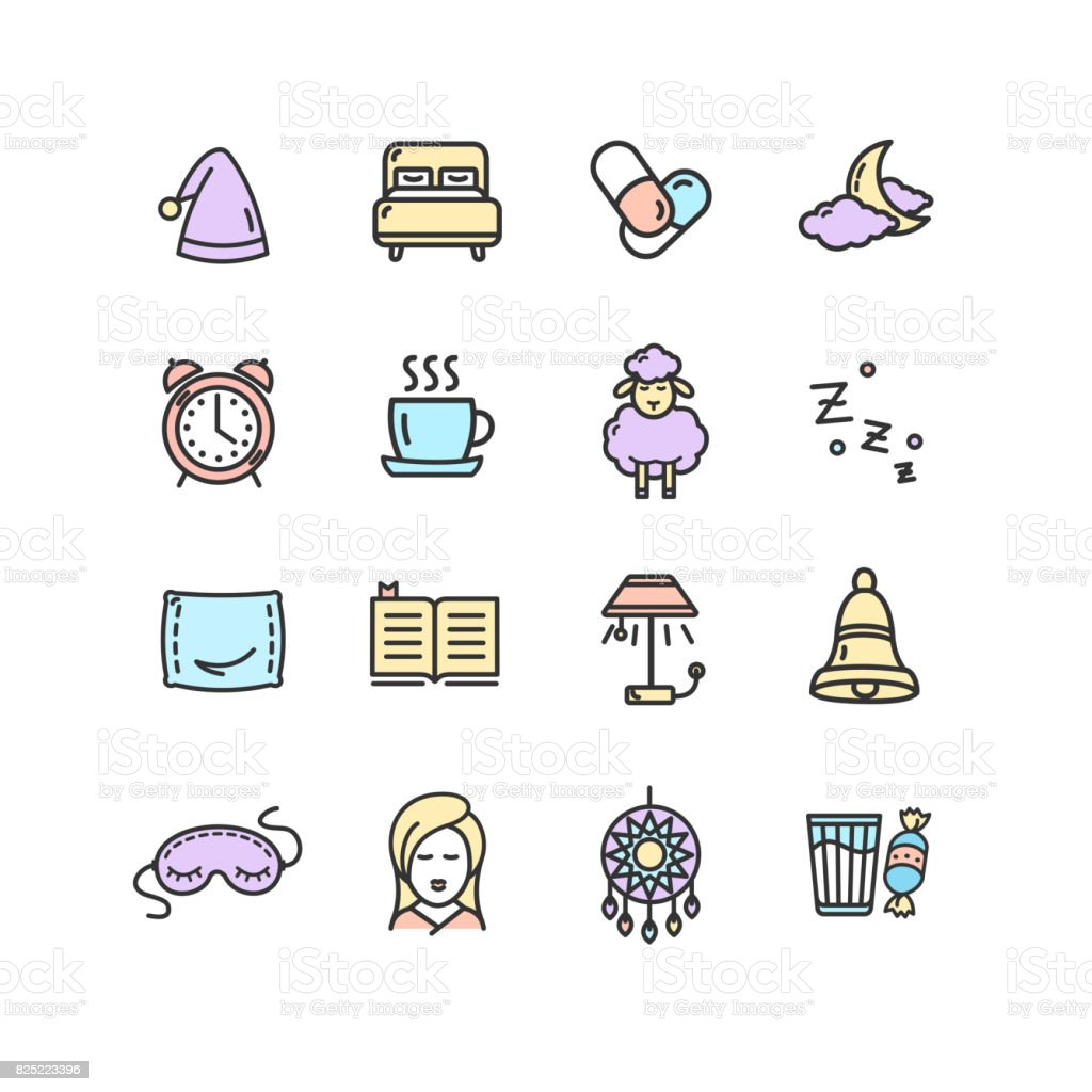 Sleeping and Insomnia Color Thin Line Icon Set. Vector vector art illustration