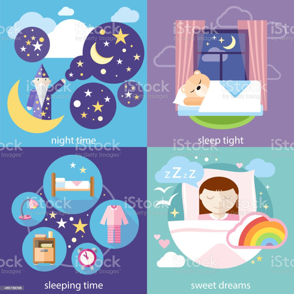 Sleeping and night time, sweet dreams vector art illustration