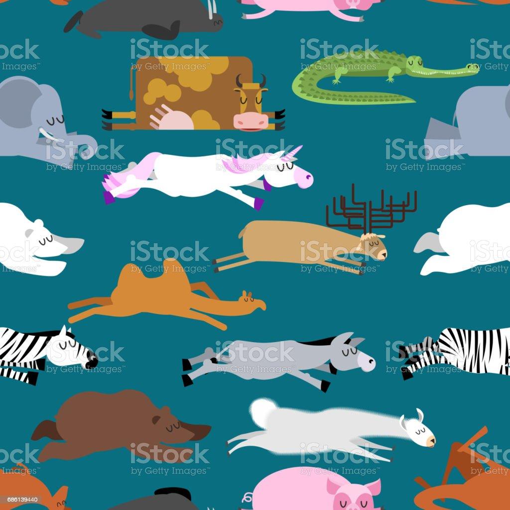 Ilustración de Patrón Sin Fisuras De Sueño Animales Sello Y Ciervos ...