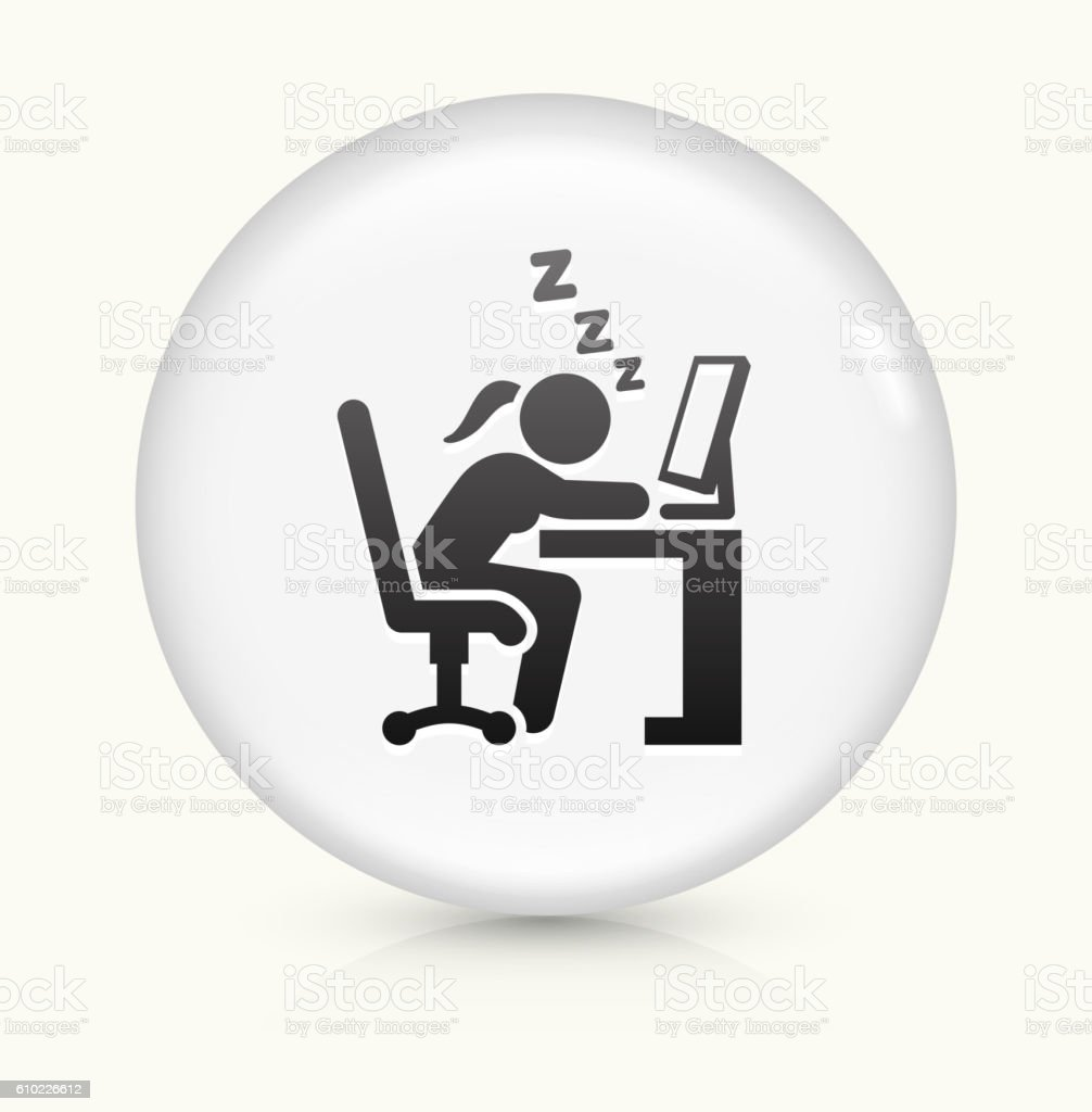 Sleeping at Work icon on white round vector button vector art illustration
