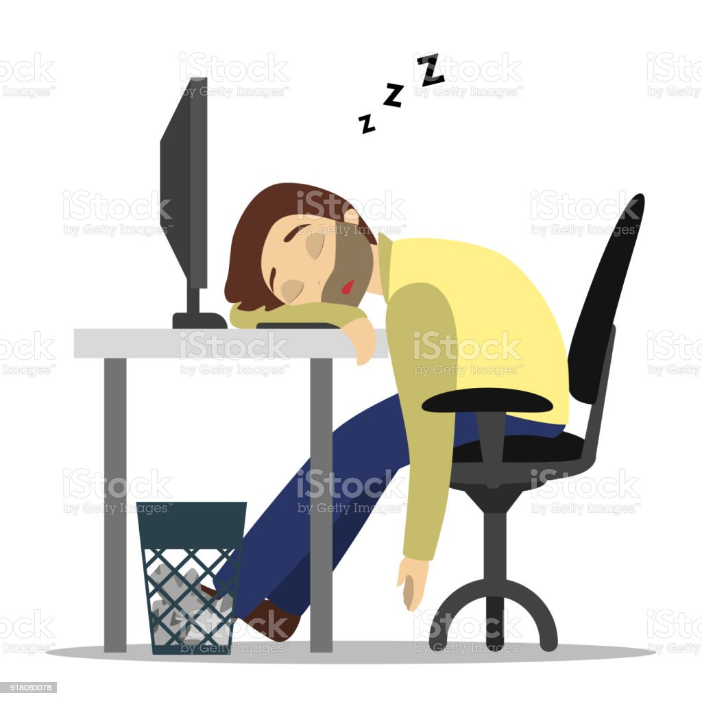 Sleeping at work. vector art illustration