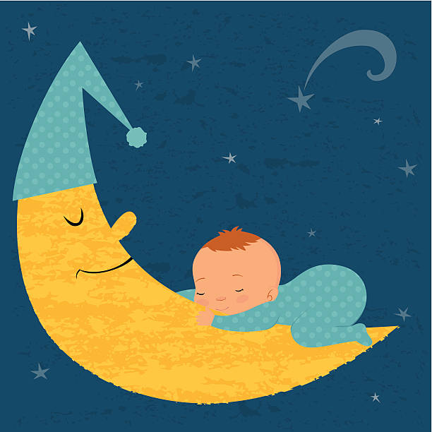 bildbanksillustrationer, clip art samt tecknat material och ikoner med sleeping baby boy with moon - baby sleeping