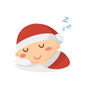 Sleeping baby in Christmas costume. Holiday season. Christmas and New Year.