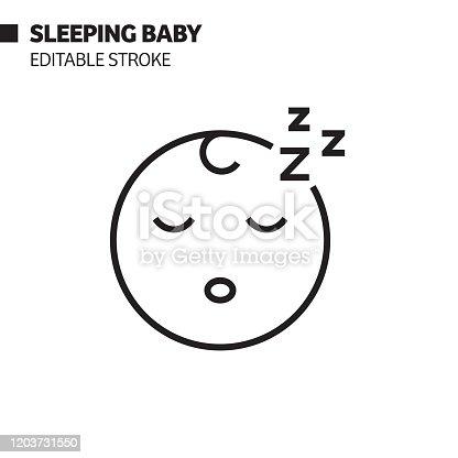 Sleeping Baby Line Icon, Outline Vector Symbol Illustration. Pixel Perfect, Editable Stroke.