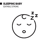 istock Sleeping Baby Line Icon, Outline Vector Symbol Illustration. Pixel Perfect, Editable Stroke. 1203731550