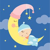 Vector illustration of a baby sleeping on the moon.