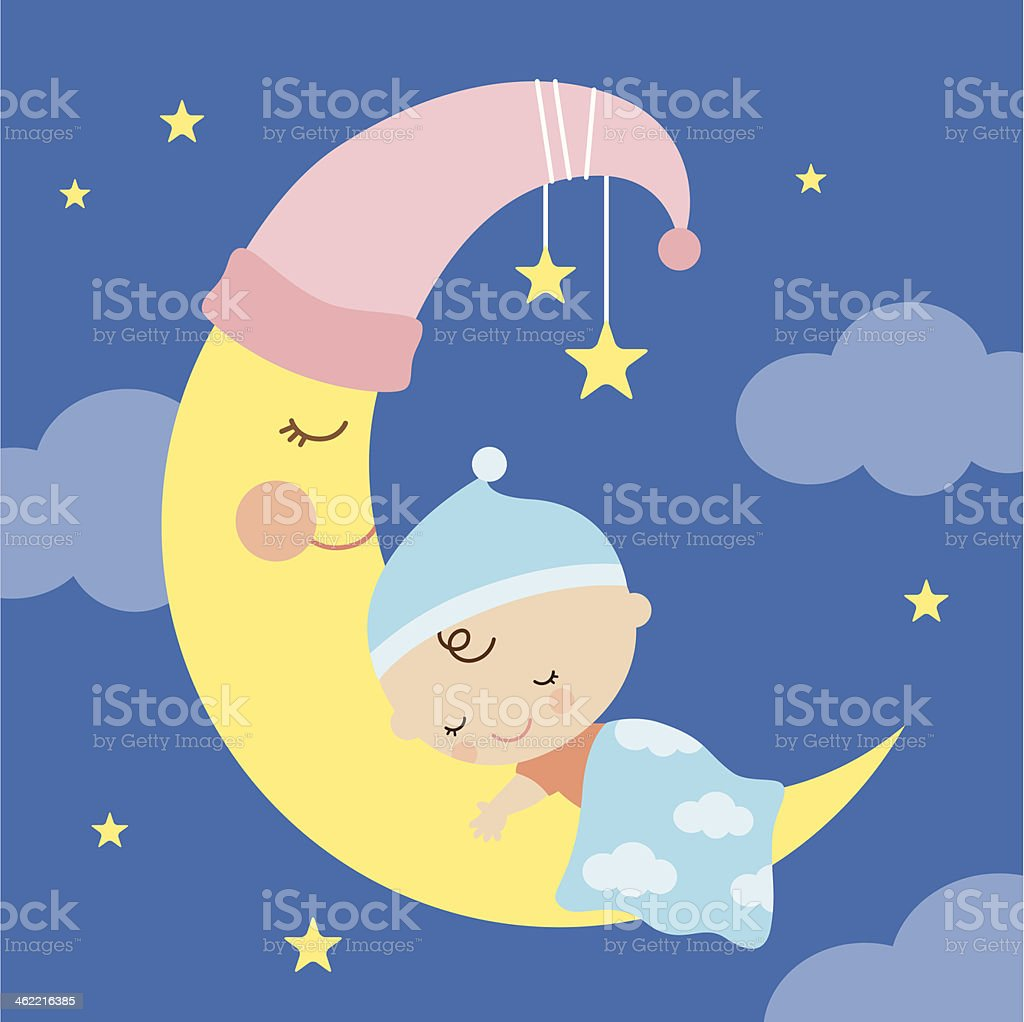 Sleeping Baby on the Moon vector art illustration
