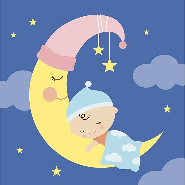 bildbanksillustrationer, clip art samt tecknat material och ikoner med sleeping baby on the moon - baby sleeping