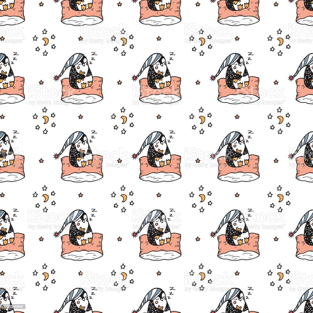 Sleeping baby penguin seamless pattern - Illustration vectorielle