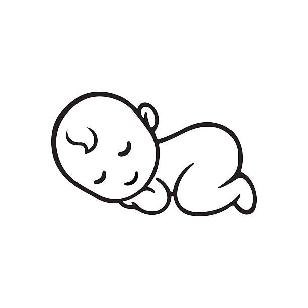 眠っている赤ちゃんのシルエット - 赤ちゃん点のイラスト素材/クリップアート素材/マンガ素材/アイコン素材