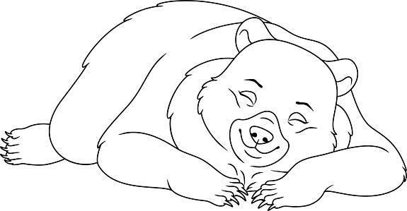 Uyuyan Ayi Boyama Sayfasi Stok Vektor Sanati Animasyon Karakter