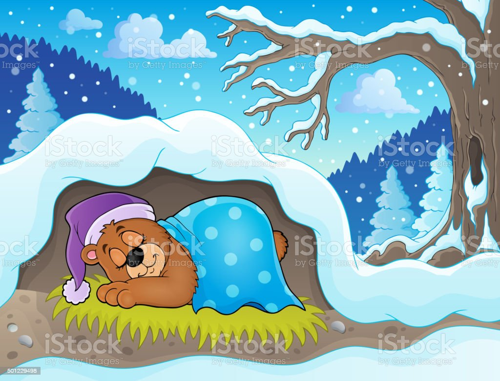 Sleeping bear theme image 2 vector art illustration