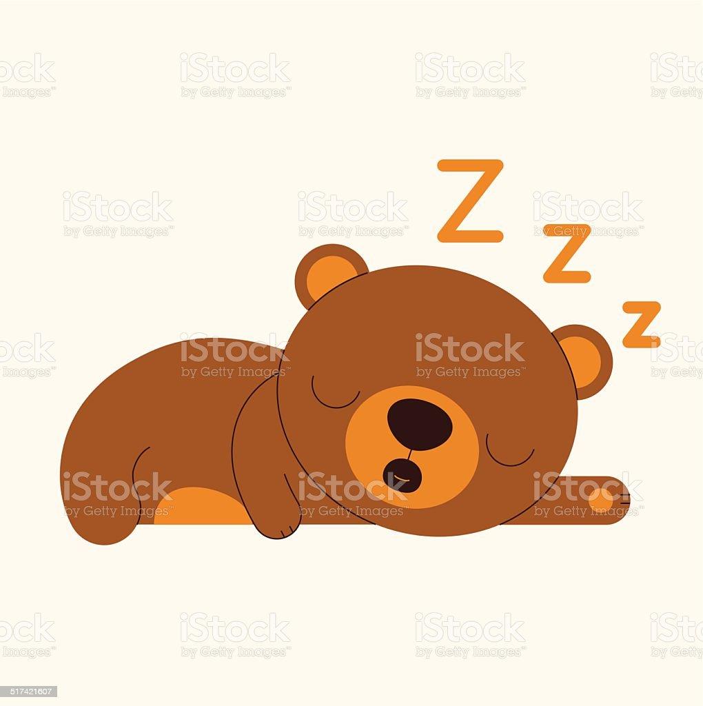sleeping bear vector art illustration