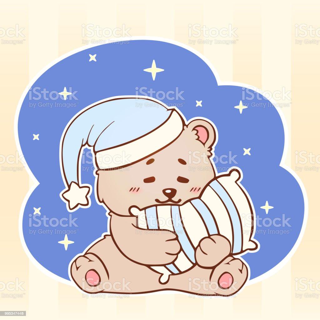 Sleeping Bear With Pillow Sweet Dreams Cute Kawaii Little Teddy Bear