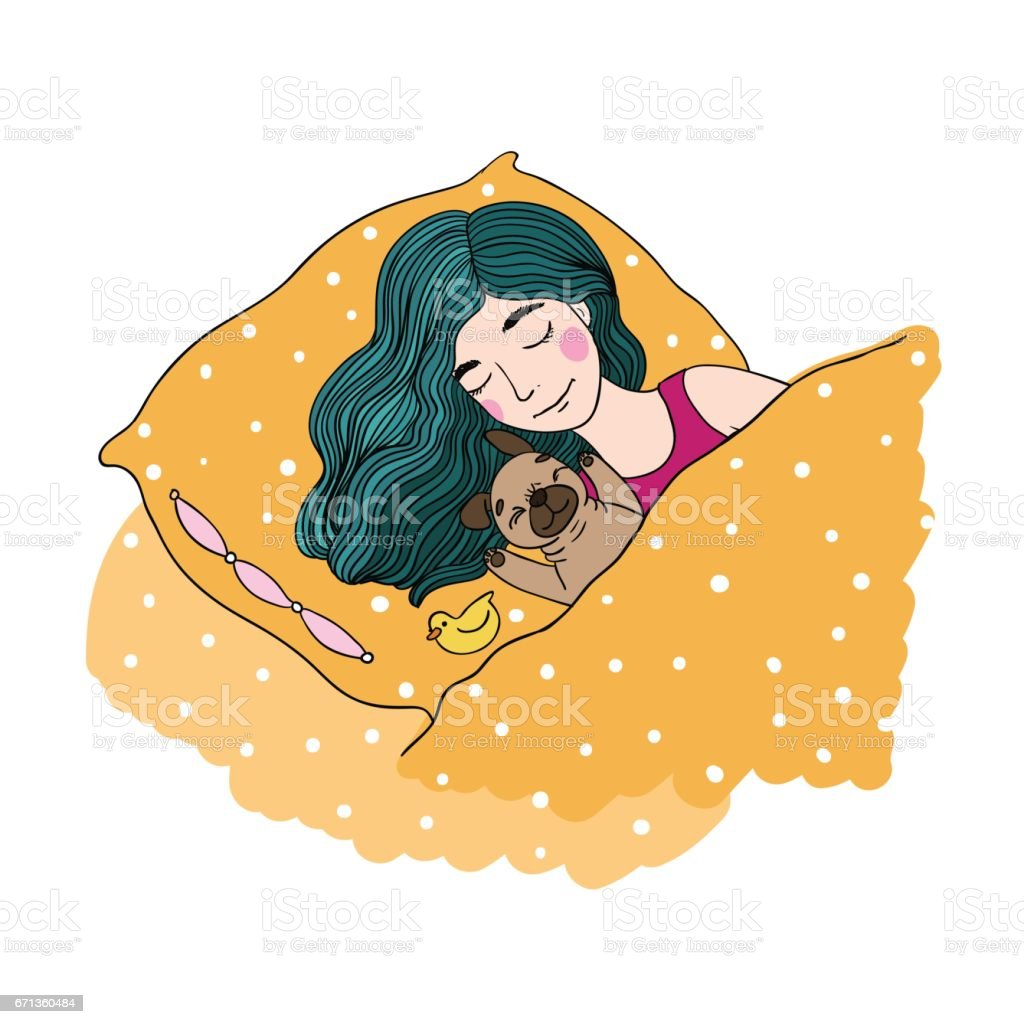 Sleeping beautiful young girl and a cute pug.