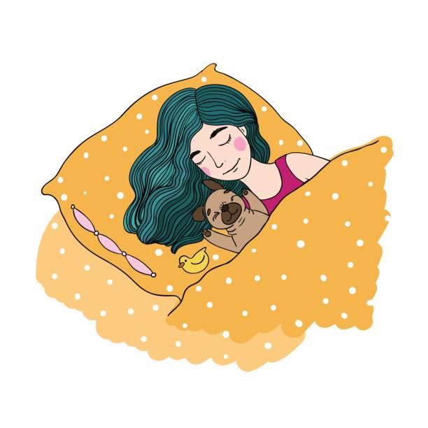 schlafende schöne junge mädchen und eine niedliche mops. - schoßhunde stock-grafiken, -clipart, -cartoons und -symbole