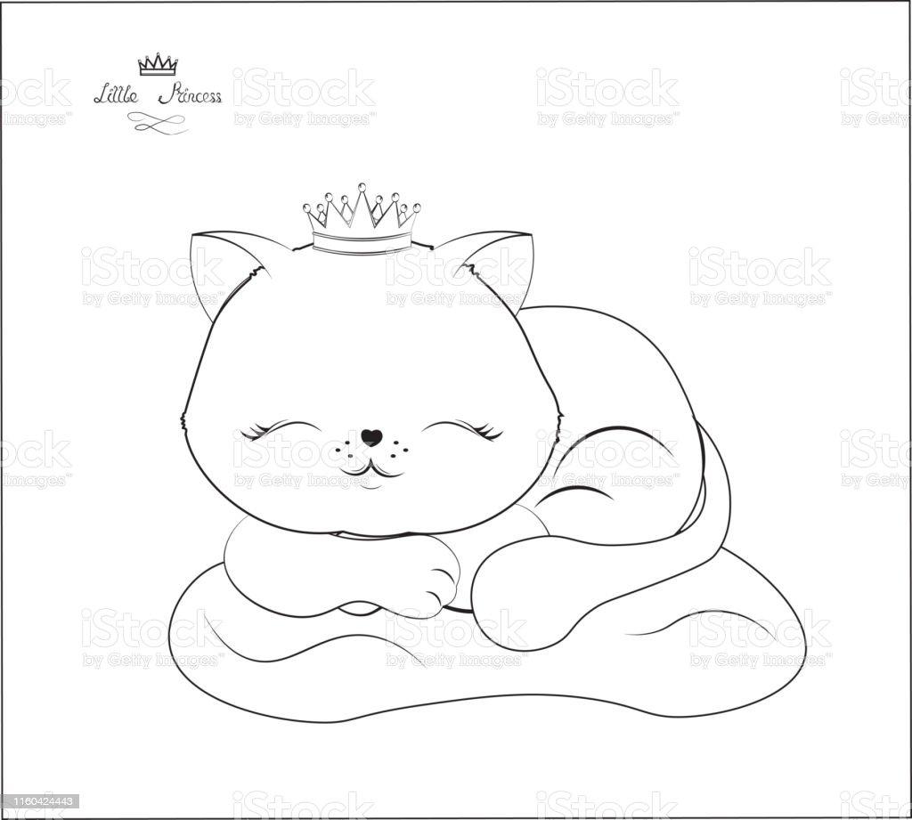 Uyku Guzellik Kucuk Kedi Boyama Stok Vektor Sanati Animasyon