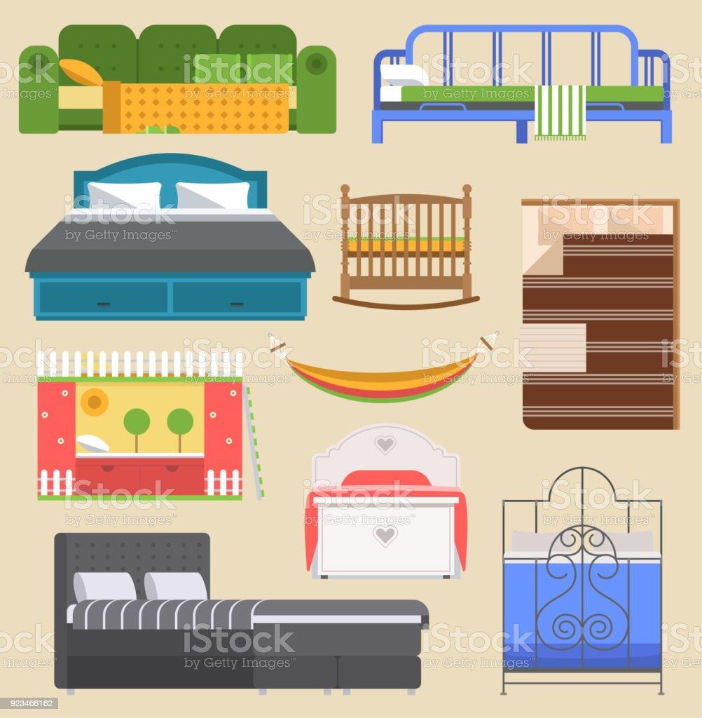 Ilustración de Dormir Cama Muebles Vector Diseño Dormitorio Con Cama ...