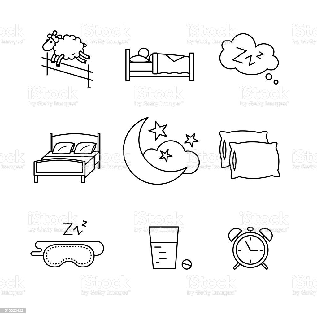 Sleeping, bedtime rest and bed vector art illustration