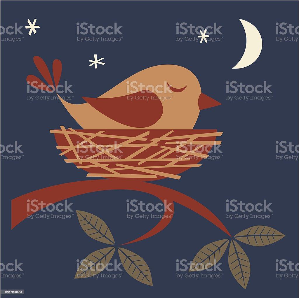 Sleeping bird vector art illustration