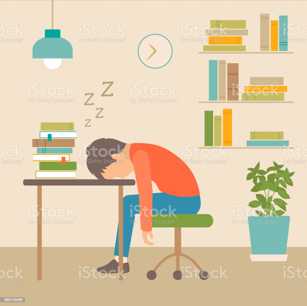 sleeping boy at school vector art illustration
