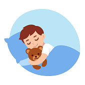 Cute cartoon little boy sleeping with teddy bear. Simple vector illustration.