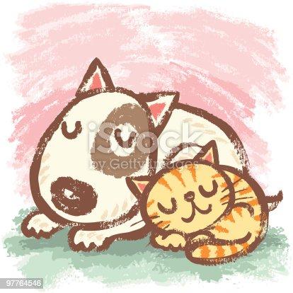 istock Sleeping bullterrier and cat 97764546