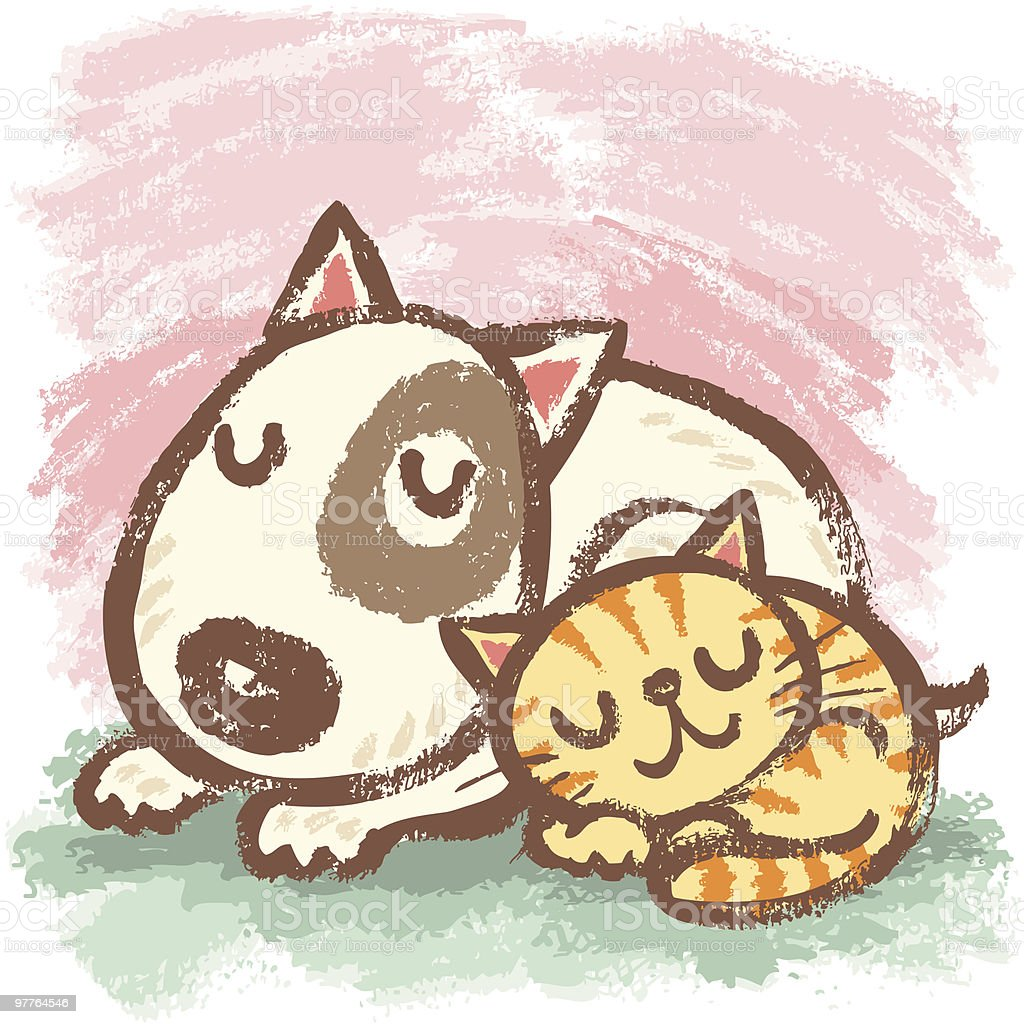 Sleeping bullterrier and cat vector art illustration