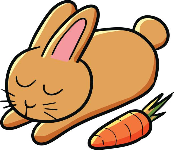 schlafender hase. - karotte peace stock-grafiken, -clipart, -cartoons und -symbole
