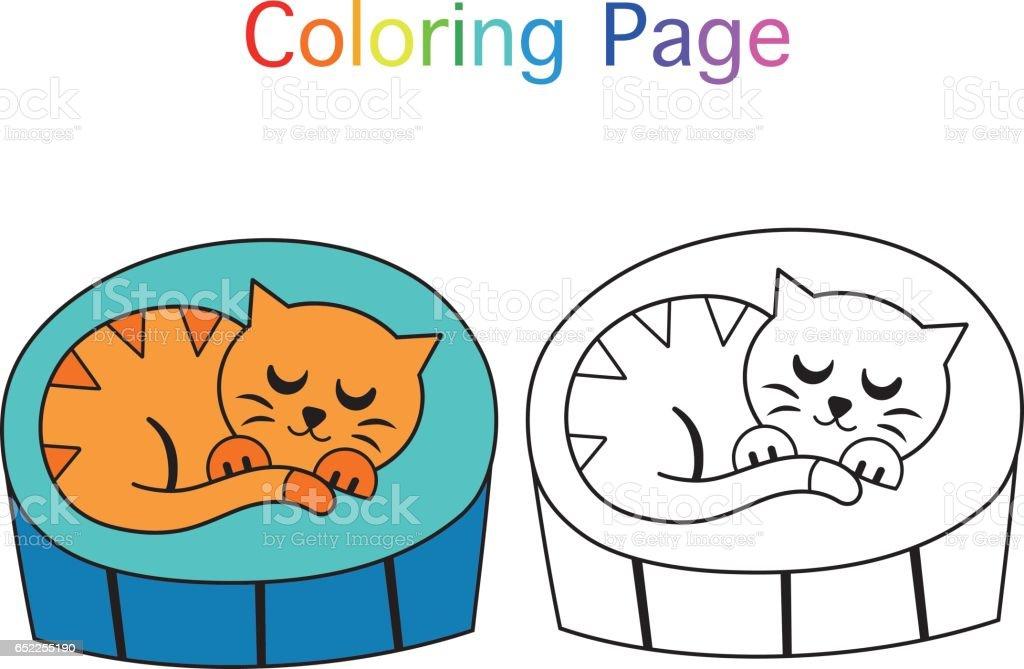 Uyuyan Kedi Boyama Sayfasi Stok Vektor Sanati Animasyon Karakter