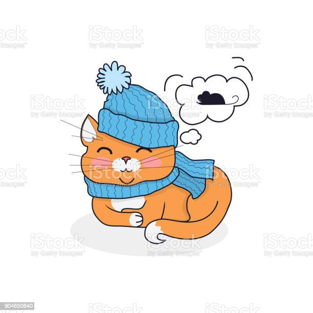 Sleeping cat in hat and scarf design vector id904650840?b=1&k=6&m=904650840&s=612x612&h=tgq3ch1fn9h59epjm5a6ipqjphjwjo7w2qcntrw2hgy=