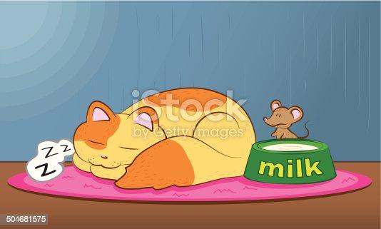 istock Sleeping Cat &  Sneaky Mice 504681575