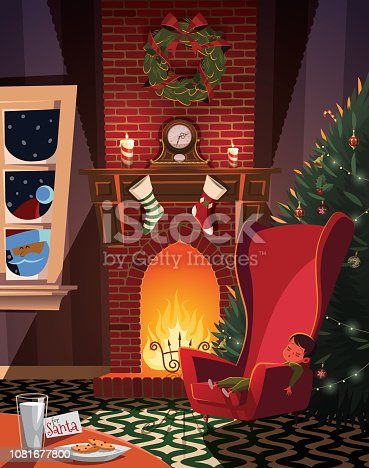 istock Sleeping child waiting for Santa in christmas decorated room 1081677800