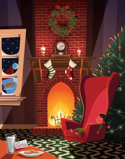 ilustrações de stock, clip art, desenhos animados e ícones de sleeping child waiting for santa in christmas decorated room - braseiro